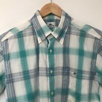 Lacoste Men's Check Button Up Polo Shirt Size Small 40'' Chest