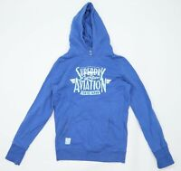 Superdry Womens Size S Graphic Cotton Blend Blue Hoodie (Regular)