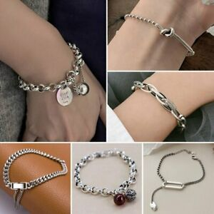 925 Silver Good Luck Chain Cuff Bracelet Women Adjustable Bangle Jewelry Gifts