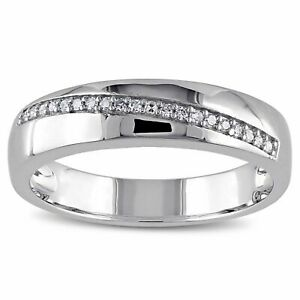 14K White Gold Over With 0.20Ct Round Diamond Wedding-Engagement Men's Band Ring