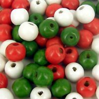 *100*  CHRISTMAS RED GREEN AND WHITE MIXED  WOODEN ROUND CRAFT BEADS 12MM