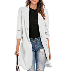 Autumn Women Simple Slim Casual Long-Sleeved Office One-Button Mid-Length Coat