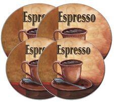 Stove Burner Covers Round Range Coffee Cafe Espresso Kitchen Decor Set of 4 USA