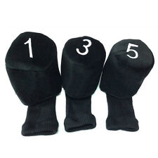Golf Club Knit Head Covers 1 3 5 Wood Driver Headcover Protective Socks 3PCS/Set