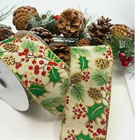 Wired natural burlap ribbon Christmas berries /& holly 25mm or 38mm x 2M length