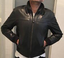 "BLACK REDSKINS BUFFALO LEATHER JACKET  L SIZE :         "" ONE SIZE SMALLER FIT """