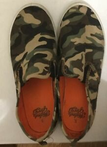 Boys Shoes ARMY GREEN BROWN CAMO Canvas Slip, SIZE 5