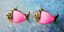 Ohrstecker Ohrring Fisch Fische rosa pink emailliert vergoldet