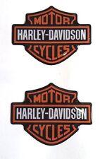 Coppia adesivi resinati in rilievo 3D Harley Davidson arancio custom