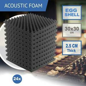 UK New 24 Acoustic Wall Panel Tiles Studio Sound Proofing Insulation Foam Pads
