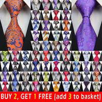 163 Style Mens Silk Tie Set Jacquard Woven Necktie Set Wedding Paisley Stripe UK