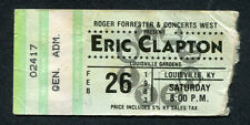 1983 Eric Clapton concert ticket stub Louisville Kentucky Money Cigarettes