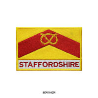 STAFFORDSHIRE County Flag With Name Embroidered Patch Iron on Sew On Badge
