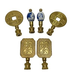 Vintage Lot Set of 6 Gold Blue & White Chinoiserie Chinese Coin Lamp Finials