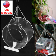 Bird Parrot Hanging Feeder Acrylic Clear Food Round Box Bowl Pet