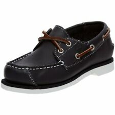 Boys Childrens Kids Infants Babies Baby Timberland Deck Boat shoes Navy Leather