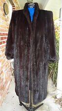 Mink Womens Black or Dark Brown  Full Length Coat  Sz M-L