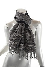 "Black White Wool Blend Paisley Floral Scarf with Rhinestones  63"" x 14"""