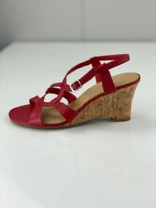 Sandler Womens Geneva Pink Brown Leather Strappy Wedge Heels Open Toe Size 6 B