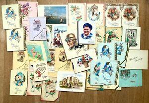 Job lot 40+ unused 1920s-1950s greetings cards, birthdays, weddings, Xmas etc