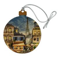 Old Paris France Eiffel Tower Wood Christmas Tree Holiday Ornament