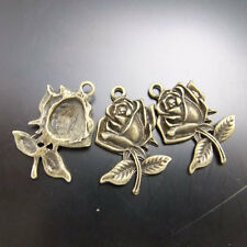 30pcs Antiqued Bronze Vintage Alloy Flower Rose Beauty  Pendant Charms 02586
