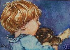 Child, Children, Boy, Puppy, Dog, Pets, Animals,  ACEO  by Vicki
