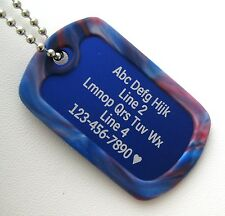 PERSONALIZED Dog Tag Necklace VERTICAL Wording BLUE with BLUE & BLACK Silencer