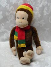 "Rare Bon Marche Macy's 26"" Rastafarian Curious George Monkey Plush Hat Scarf EUC"