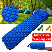 Inflatable Compact Camping Sleeping Pad Hiking Air Mattress With Pillow New