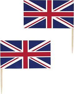 30 x GB Flag Food & Drink Picks Cupcake Topper Decorations Union Jack flag picks