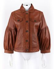 TASHA POLIZZI Collection Tan Brown Leather Balloon Sleeve Jacket Coat Size L
