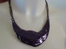 Dark Purple Hammered Metal Necklace Neck Cuff Choker