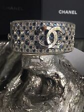 NWT CHANEL 2016 $2970 CHECK IN CC BLUE PRINCESS CUT BAGUETTE CRYSTAL CUFF RUNWAY