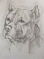 More details for pitbull terrier- american bully dog sketch original drawing art pet portrait