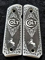 Colt 1911 custom engraved ivory scrimshaw grips Scroll Rampant Horse Checkered