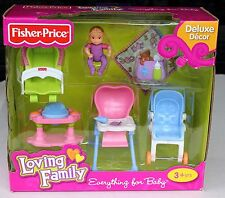 Fisher Price Loving Family Eeverything 4 Baby Doll Stroller Highchair Diaper Bag