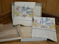 Vintage Stamped Pillowcases to Embroider 34x20 Blue Bird Flowers Ric Rac Trim 2