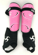 Brine Kids Soccer Skin Guards 2 piece w/ Foot Sleeve Protector Size Medium Pink