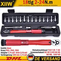 """18tlg Fahrrad Drehmoment 1/4"""" 2-24Nm Schraubenschlüssel Reparatur Reit Werkzeug"""