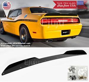 For 08-14 Dodge Challenger Black Rear Decklid Spoiler Gurney Flap Wickerbill