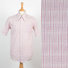 VINTAGE MENS DARK RED RETRO CHECK PATTERN 70'S SHIRT POINTY COLLAR MOD DISCO M