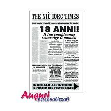 Biglietto compleanno auguri giornale 18 anni amico quotidiano regalo umoristico