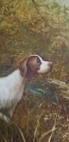 Vtg Hunting Scene Oil on canvas Dog Pointer with ducks signed Leo Ford 1900s