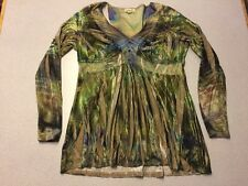 ONE WORLD L Stretch Velvet Tunic Top Peacock FeatherGreen Boho Ruched Shirt J13
