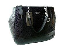 NEW! Guess Black G Logo Embossed Purse Satchel City Lights Tote Bag Handbag NICE