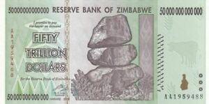 Zimbabwe 2008 50 TRILLION DOLLARS BANKNOTE, AA P-90 New UNC 100 TRILLION SERIES