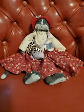 Tender Heart Treasures cat Folk Art Doll Overalls Canvas Stuffed