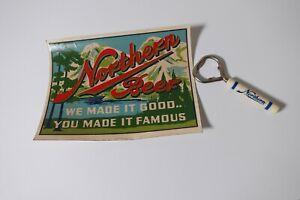 Northern Beer Bakelite Beer Opener & Rare Store Window Decal