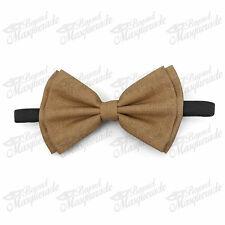 Beige Canvas Brown Bow Tie Adjustable Pre-tied Clip-on  Bow Tie Necktie Ties